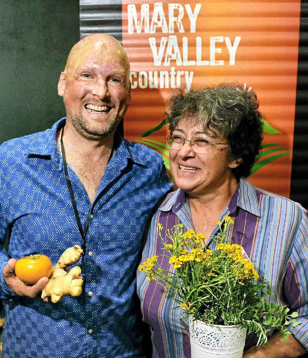 WORKING TOGETHER: The Gympie region's food and culinary tourism ambassador, Matt Golinski, with Dagun organic farmer and Mary Valley produce promoter Elaine Bradley at Gympie Region Unearthed.