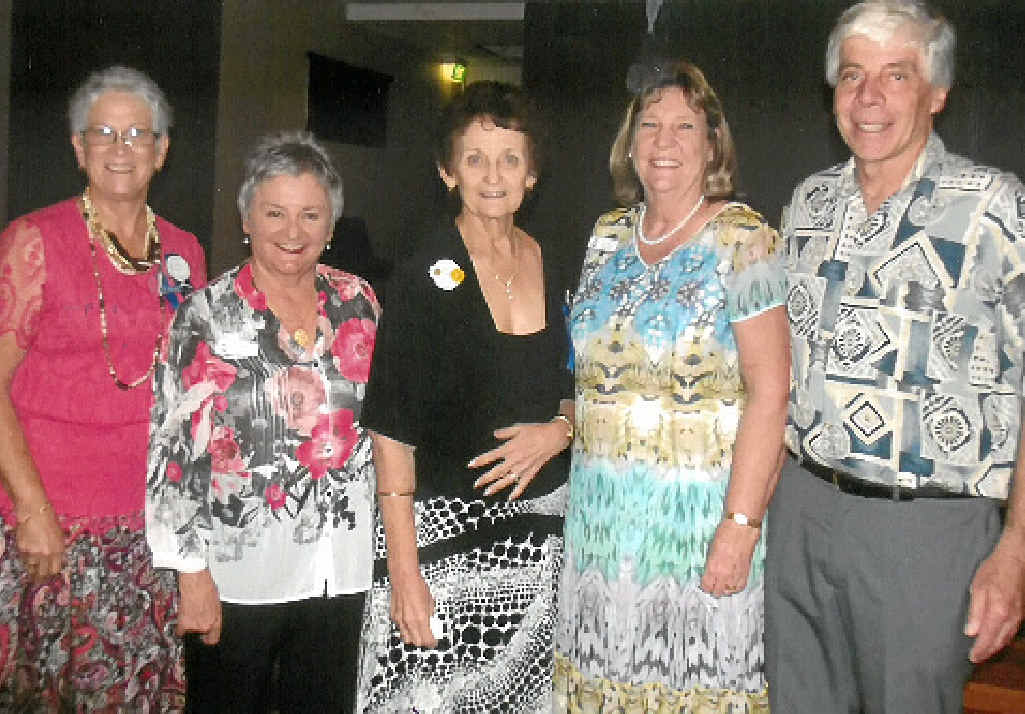 CHANGEOVER: Outgoing Gympie Quota president Eunice McIntyre (left) with Division 15 board member Lorraine Cush, incoming president Judy Dwyer and 34th district past governor Sandra Verral and her husband Colin.