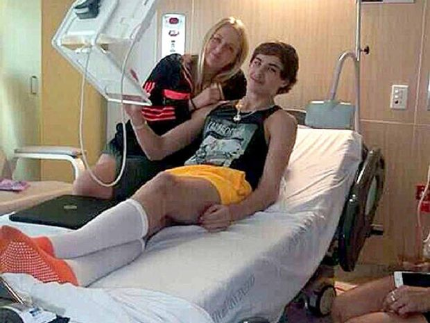 IN HOSPITAL: Jackson Byrnes and his girlfriend Jahnae Jackson during a hospital visit.