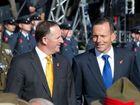 New Zealand Prime Minister John Key and Australian Prime Minister Tony Abbott arrive for the dedication of the Australian National Memorial in Wellington.