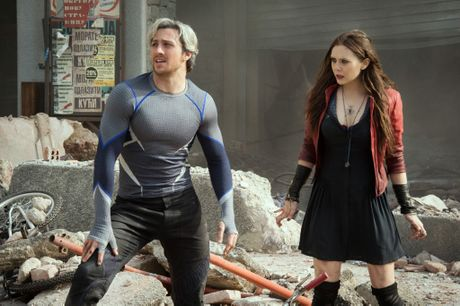 Aaron Taylor-Johnson and Elizabeth Olsen in a scene fromAvengers: Age of Ultron.