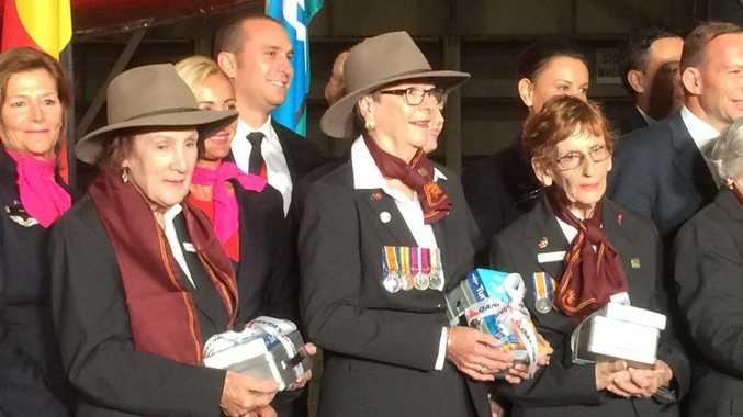 Woombye woman Diane Melloy (centre) prepares to leave to Gallipoli with nine other widows of First World War veterans to commemorate the Anzac Centenary. Photo Chris Calcino