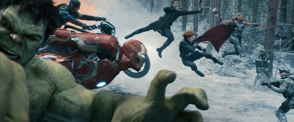 From left, the Hulk (Mark Ruffalo), Iron Man (Robert Downey Jr), Chris Evans, Jeremy Renner, Scarlett Johansson and Chris Hemsworth in Avengers: Age Of Ultron.