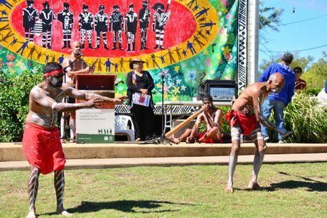 BARAMBAH DANCERS:Wakka Wakka Dancers Damien Bond,Lance Miller,Steven Hart and Damien Miller.