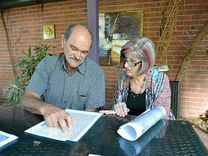 SPECIAL DELIVERY: Descendant of George Richards, Peter Farrell of Ballina and descendant of Frederick Richardson, Jill Barnett of Casino go through the letter that took nearly 100 years to deliver.