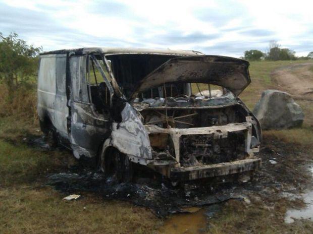 A burnt-out van was found at Eli Creek last week.
