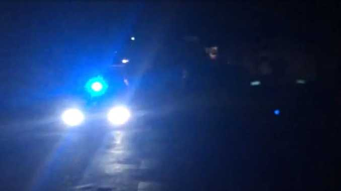 Nine police vehicles attended a house in Gympie last night.