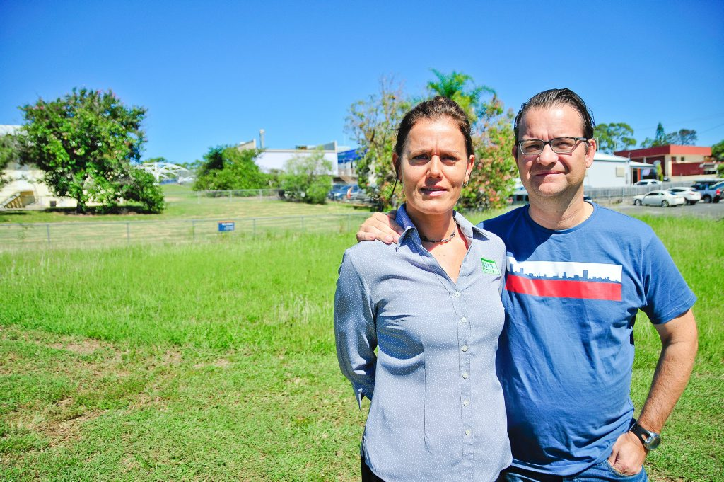 SITE SECURED: Nicole and Gaston Boulanger on the block of land where they plan to build a new, enlarged BITS Medical centre. Photo Mike Richards / The Observer