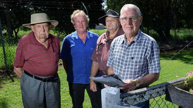 Concerned Kruger St residents Al Smith, Paul Denman, Phil Smith and Bill McCrea are worried about the proposed development.