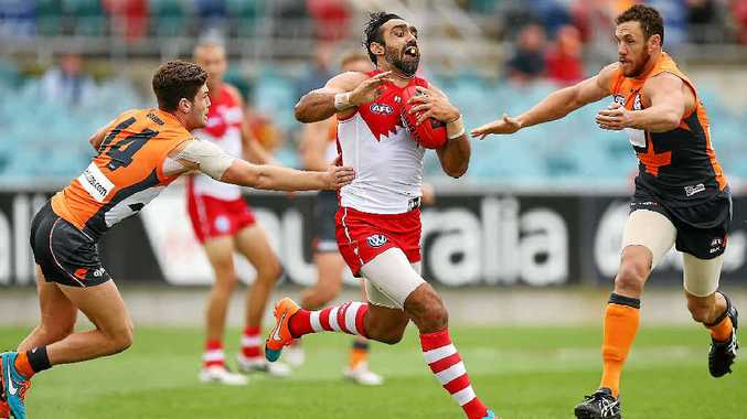 Adam Goodes in action for the Sydney Swans.