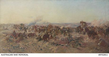 'The Charge of the Australian Light Horse at Beersheba, 1917', an oil on canvas by George Lambert. The painting depicts one of the last major cavalry charges in history, by the 4th Light Horse Brigade in the Battle of Beersheba on October 31, 1917, part of the campaign in the Sinai and Palestine. Courtesy of Australian War Memorial ART02811