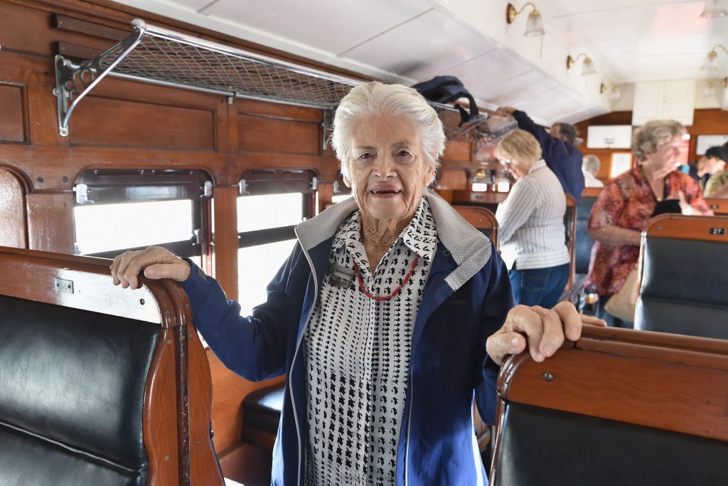 2015 Anzac Troop Train Re--enactment - Winton to Longreach. Rosemary Archer from Winton in the carriage named after her father-in-law Vivian Archer. Photo: Alistair Brightman / Fraser Coast Chronicle