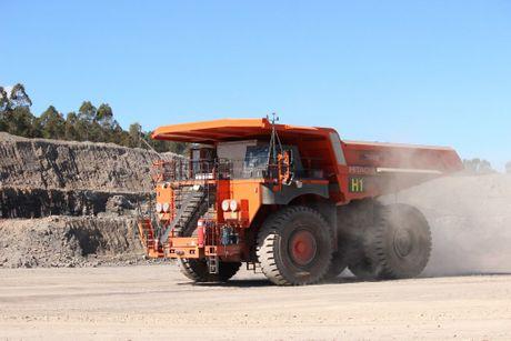 Hitachi EH5000AC-3 haul truck running with an autonomous haulage system. CONTRIBUTED / QLD200415ROBOTS1