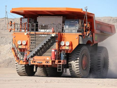 Hitachi EH5000AC-3 haul truck running with an autonomous haulage system. CONTRIBUTED / QLD200415ROBOTS3