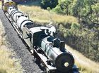 2015 Anzac Troop Train Re-Enactment - Longreach to Emerald. The train makes its way down the Drummond Range on its way to Emerald. Photo: Alistair Brightman / Fraser Coast Chronicle