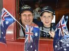2015 Anzac Troop Train Re-Enactment - Rockhampton to Maryborough. Peter Fon and his son Luka,10, from Townsville Travelling all the way to Brisbane. Photo: Alistair Brightman / Fraser Coast Chronicle