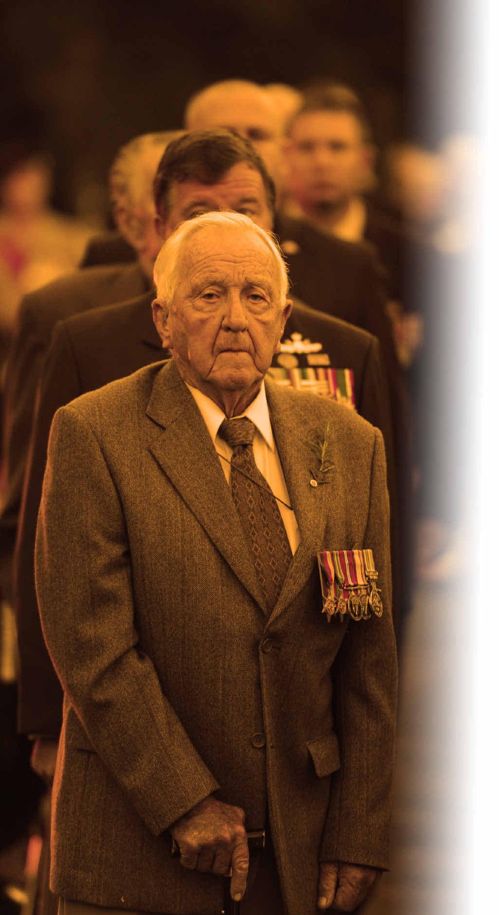 Reg Hackett at the Anzac Day dawn service in 2014.