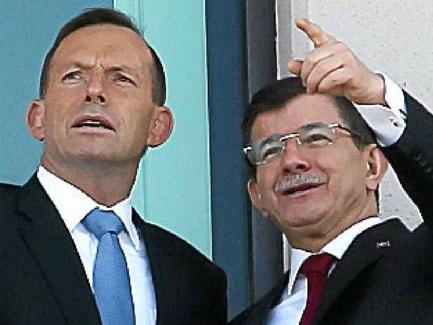 PM Tony Abbott and Turkey's PM Ahmet Davutoglu.