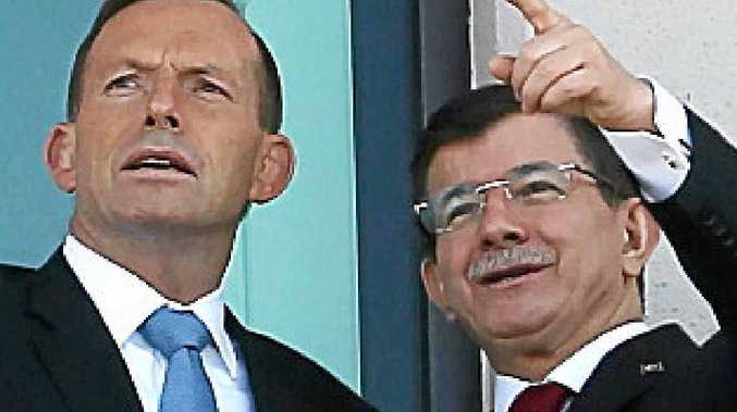 PM Tony Abbott and Turkey's PM Ahmet Davutoglu.