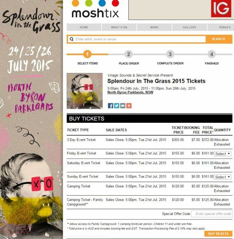 A screenshot from the Moshtix website selling Splendour in the Grass tickets at 9.35am on Thursday.