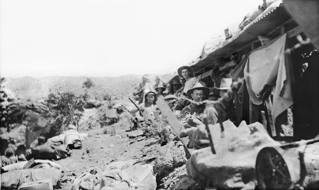Australian soldiers in the support trenches on Pope's Hill, just before the start of the August Offensive and their ill-fated charge on August 7, 1915. Courtesy of Australian War Memorial C02699