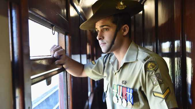 2015 Anzac Troop Train Re-Enactment - Rockhampton to Maryborough. Lance Corporal Ben McDonald - born in Maryborough. Photo: Alistair Brightman / Fraser Coast Chronicle