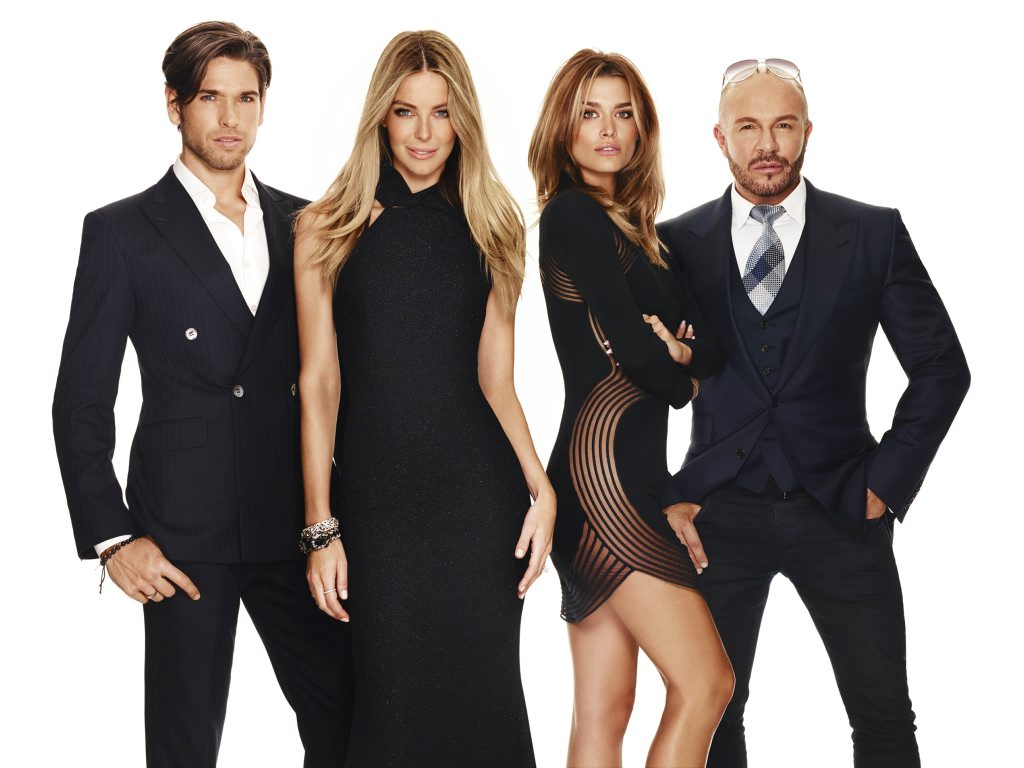 Top Model host Jennifer Hawkins, second from left, with mentors Didier Cohen, Cheyenne Tozzi and judge Alex Perry.