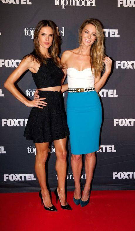 Australia's Next Top Model host Jennifer Hawkins, left, with guest judge Alessandra Ambrosio.
