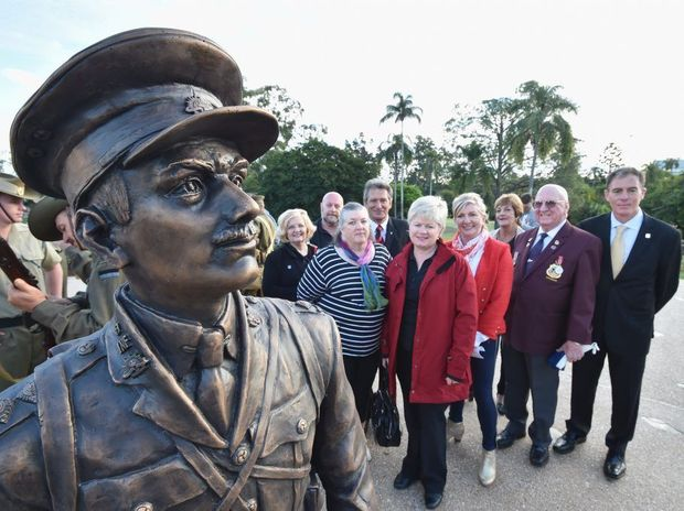 Unveiling of the Duncan Chapman memorial in Queens Park, Maryborough. Fundraising committee - (L) Carmel Murdoch, Stephen Yeates, Maria Carkagis, Greig Bolderrow, Jenny Elliott, Sharon Brown, Nancy Bates, Bob Evans and Gerard O'Connell. Photo: Alistair Brightman / Fraser Coast Chronicle