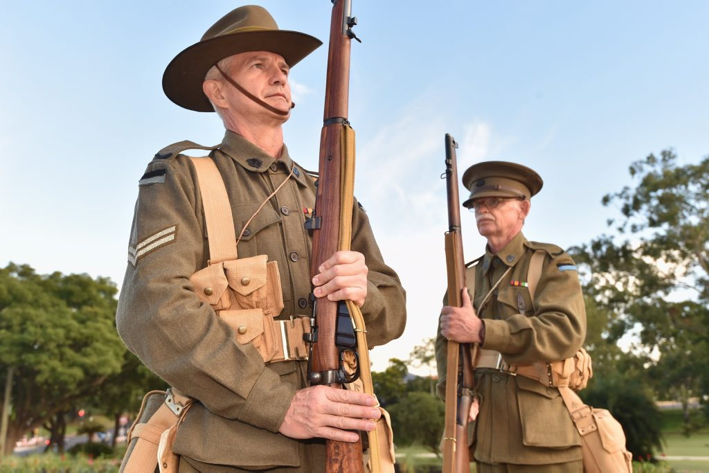 Members of the 9th Battalion Living History Unit - (L) David Bell and Ron Stehn - banned from carrying rifles in the Anzac Day march in Brisbane. Photo: Alistair Brightman / Fraser Coast Chronicle