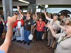 Troop train arrives at Roma St. Station amidst cheers and singing after travelling from Winton on Monday. Photo: Alistair Brightman / Fraser Coast Chronicle