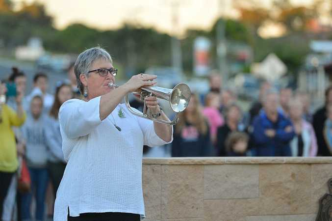 Sue Chamberlain was a bit nervous about playing the Last Post.