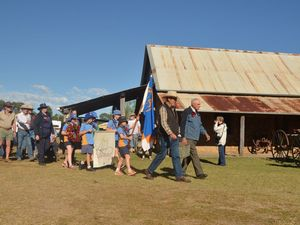 A rare war artifact leads the Anzac march at Boondooma