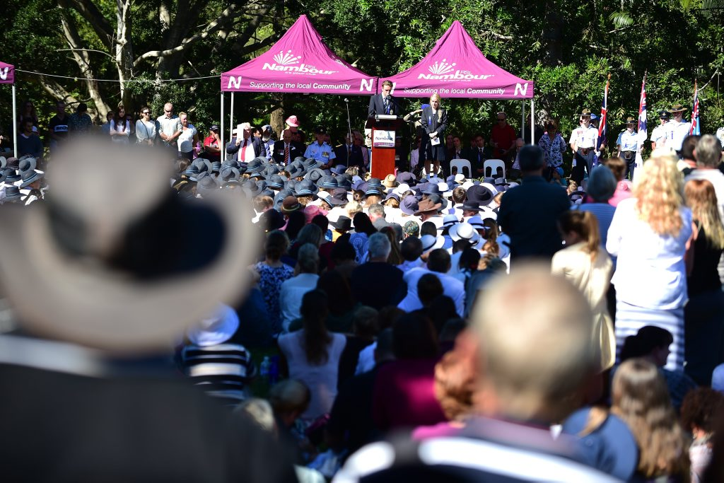 Crowds during Anzac Day commemorations at Nambour. Photo: Iain Curry / Sunshine Coast Daily
