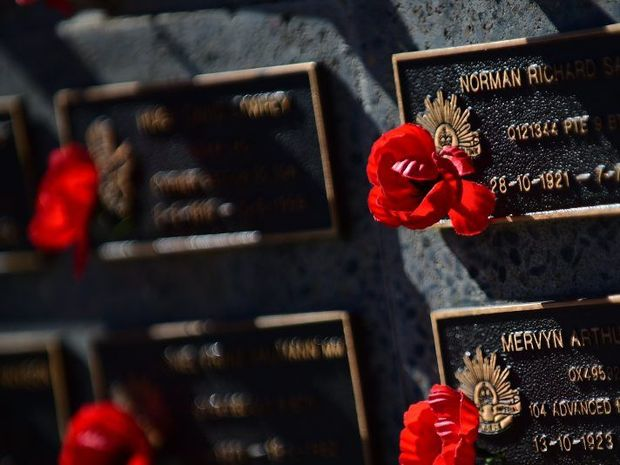 Memorial wall seen at Anzac Day commemorations at Nambour. Photo: Iain Curry / Sunshine Coast Daily