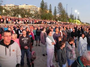 Sounds of Vietnam choppers during Mooloolaba dawn service