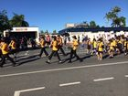 Schools marching in today's Anzac Day parade down Gordon St, Mackay.