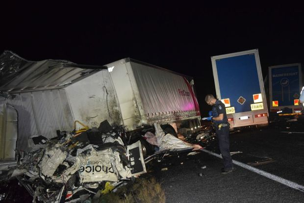 A man has died in a truck collison near Macalister.