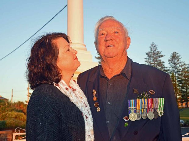 STANDING PROUD: Barry De Bomford with his daughter Kathy Gunning at Yamba Anzac Day dawn service.