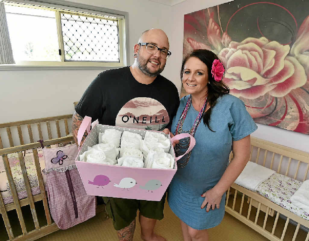 READY AND WAITING: Dan and Steph Mulheron in their nursery before the arrival of their little girl on April 23.