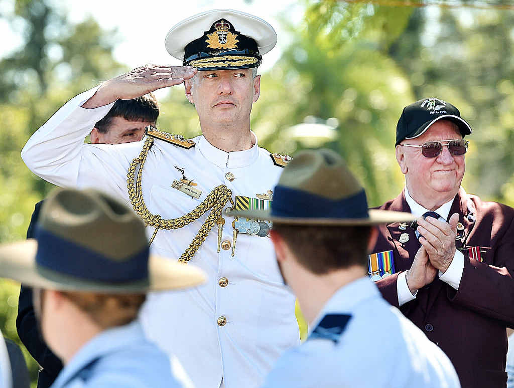 Reviewing Officer Rear Admiral Peter Quinn at Anzac Day in Maryborough.