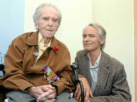 Lloyd Jones with his son Glen Jones at the Lismore march.