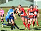 HOLD ON: Byron Bay fullback Sean Deaves braces for contact in NRRRL against Marist Brothers at Oakes Oval yesterday