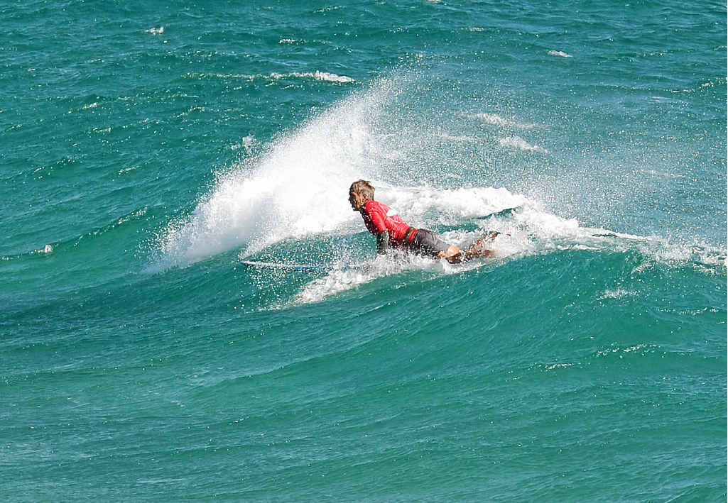 Ray Gleave hunts a wave on finals day at the Byron Bay Malibu Classic.
