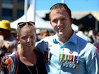 TIME TO REFLECT: Ashley and Nicholas Bidwell at the Anzac Day centenary march. Nicholas served in both Afghanistan and East Timor.