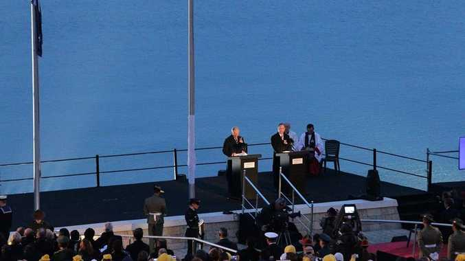 Prince Charles addresses the crowd during the centenary Anzac day dawn service at Anzac Cove.