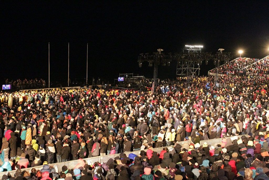 The crowd stands at the beginning of the centenary Anzac day dawn service at Gallipoli.