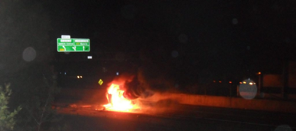 Riverview residents described being awoken by a huge bang before looking outside to see a car engulfed in a fire ball.