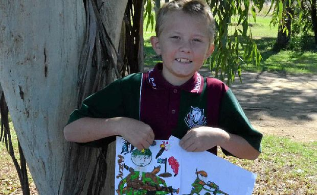 Caelin Lorne with his Anzac sketches.