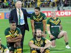 Australia coach Tim Sheens with his players after their defeat to New Zealand in the Rugby League Four Nations Final, Westpac Stadium, Wellington, New Zealand, Saturday, November 15, 2014.